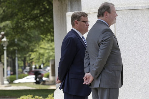 House Speaker Tim Moore, left, and Senate Pro Tempore Phil Berger in 2019. (AP Photo/Gerry Broome)