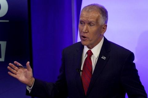 U.S. Sen. Thom Tillis, R-N.C., speaks during a televised debate with Democratic challenger Cal Cunningham, Thursday, Oct. 1, 2020, in Raleigh, N.C. (AP Photo/Gerry Broome, Pool)