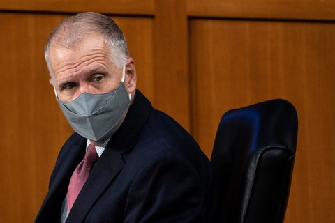 Sen. Thom Tillis, R-S.C., listens during the confirmation hearing for Supreme Court nominee Amy Coney Barrett, before the Senate Judiciary Committee, Tuesday, Oct. 13, 2020, on Capitol Hill in Washington. (Erin Schaff/The New York Times via AP, Pool)