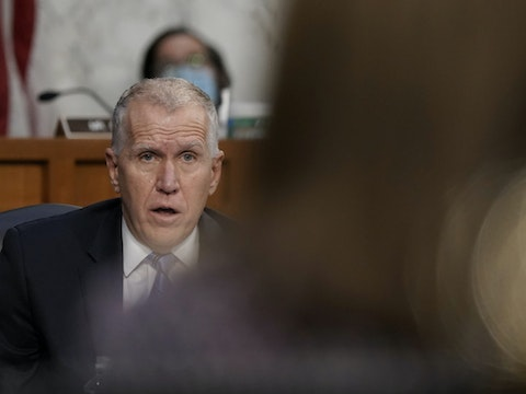 Sen. Thom Tillis, R-N.C., speaks during the confirmation hearing for Supreme Court nominee Amy Coney Barrett, before the Senate Judiciary Committee, Wednesday, Oct. 14, 2020, on Capitol Hill in Washington. (Ken Cedeno/Pool via AP)