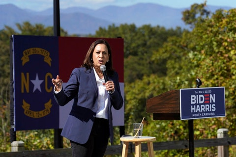 Democratic vice presidential candidate Sen. Kamala Harris, D-Calif., speaks to supporters at UNC-Asheville, Wednesday, Oct. 21, 2020, in Asheville, N.C. (AP Photo/Kathy Kmonicek)