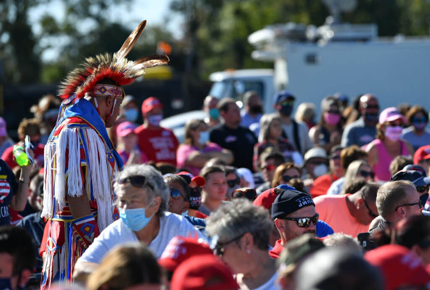 LUMBERTON, USA - OCTOBER 24: People attend President Trump's event on Saturday in NC. In the closing days fo the 2020 election, both Trump and former Vice President Joe Biden have been courting key votes from Lumbee residents of rural Robeson County. (Photo by Peter Zay/Anadolu Agency via Getty Images)