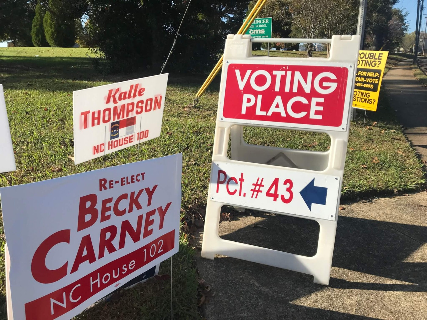 Voters at an east Charlotte precinct say they're looking for change. (Image by Pat Moran)