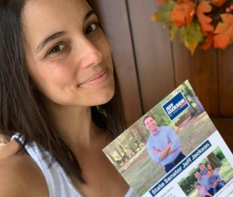 With state Sen. Jeff Jackson training in the National Guard, Charlotte's Marisa Jackson is closing out her husband's crucial race for him. (Image submitted by Marisa Jackson)