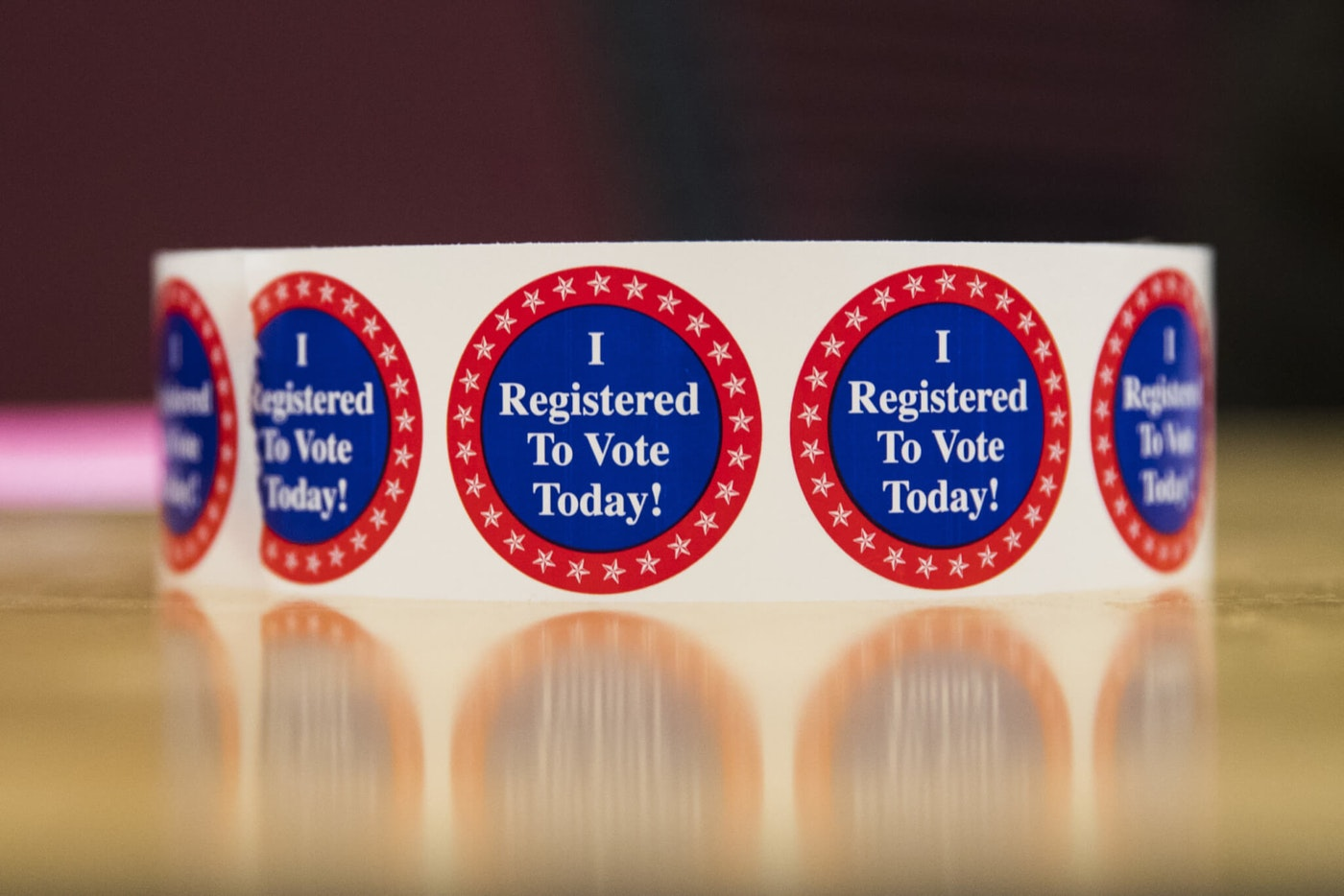 I Registered To Vote Today stickers in New Hampshire, U.S.. Photographer: Adam Glanzman/Bloomberg