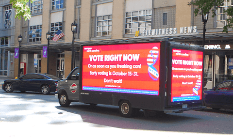 A truck carrying an ad in Raleigh for NextGen, a national youth voter organization seeking to turn out college voters in North Carolina.