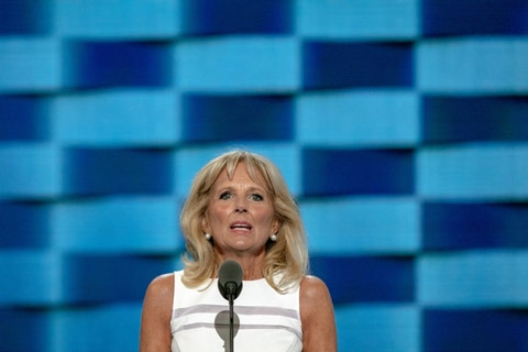 In this file photo, Jill Biden speaks in Philadelphia in 2016. The potential First Lady made three stops in NC Tuesday to campaign on behalf of her husband, Democratic presidential nominee Joe Biden. (Image via Shutterstock)