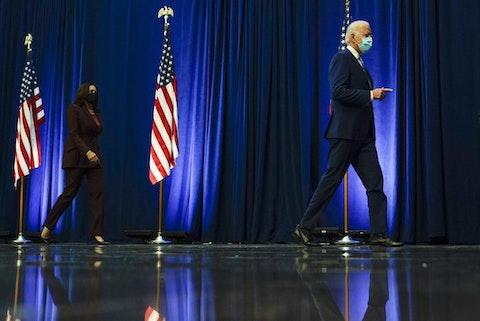 Democratic presidential candidate former Vice President Joe Biden arrives to speak Wednesday, Nov. 4, 2020, in Wilmington, Del., with his running mate Sen. Kamala Harris, D-Calif. (AP Photo/Carolyn Kaster)