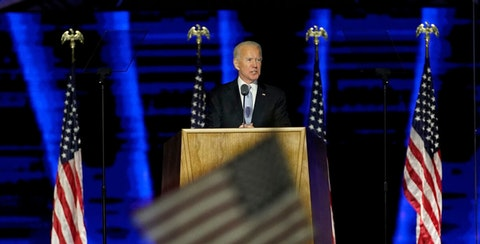 President-elect Joe Biden speaks, Saturday, Nov. 7, 2020, in Wilmington, Del. (AP Photo/Andrew Harnik, Pool)