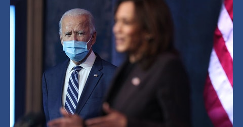 U.S. President-elect Joe Biden listens as Vice President-elect Kamala Harris addresses the media about the Trump Administration's lawsuit to overturn the Affordable Care Act on November 10, 2020 at the Queen Theater in Wilmington, Delaware. Mr. Biden also answered questions about the process of the transition and how a Biden Administration would work with Republicans. (Photo by Joe Raedle/Getty Images)