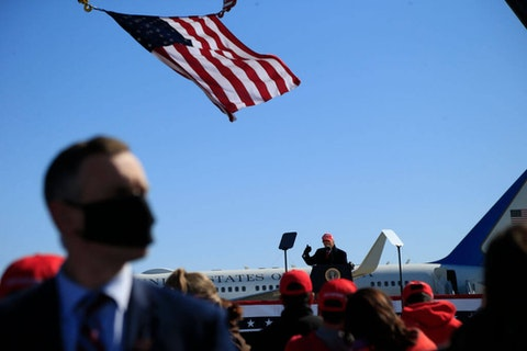 FAYETTEVILLE, NC - NOVEMBER 2:  U.S. President Donald Trump delivers remarks during a campaign rally at Fayetteville Regional Airport on November 2, 2020 in Fayetteville, North Carolina. The state managed to swing to both President Trump and Democratic Gov. Roy Cooper in the 2020 election. (Photo by Brian Blanco/Getty Images)