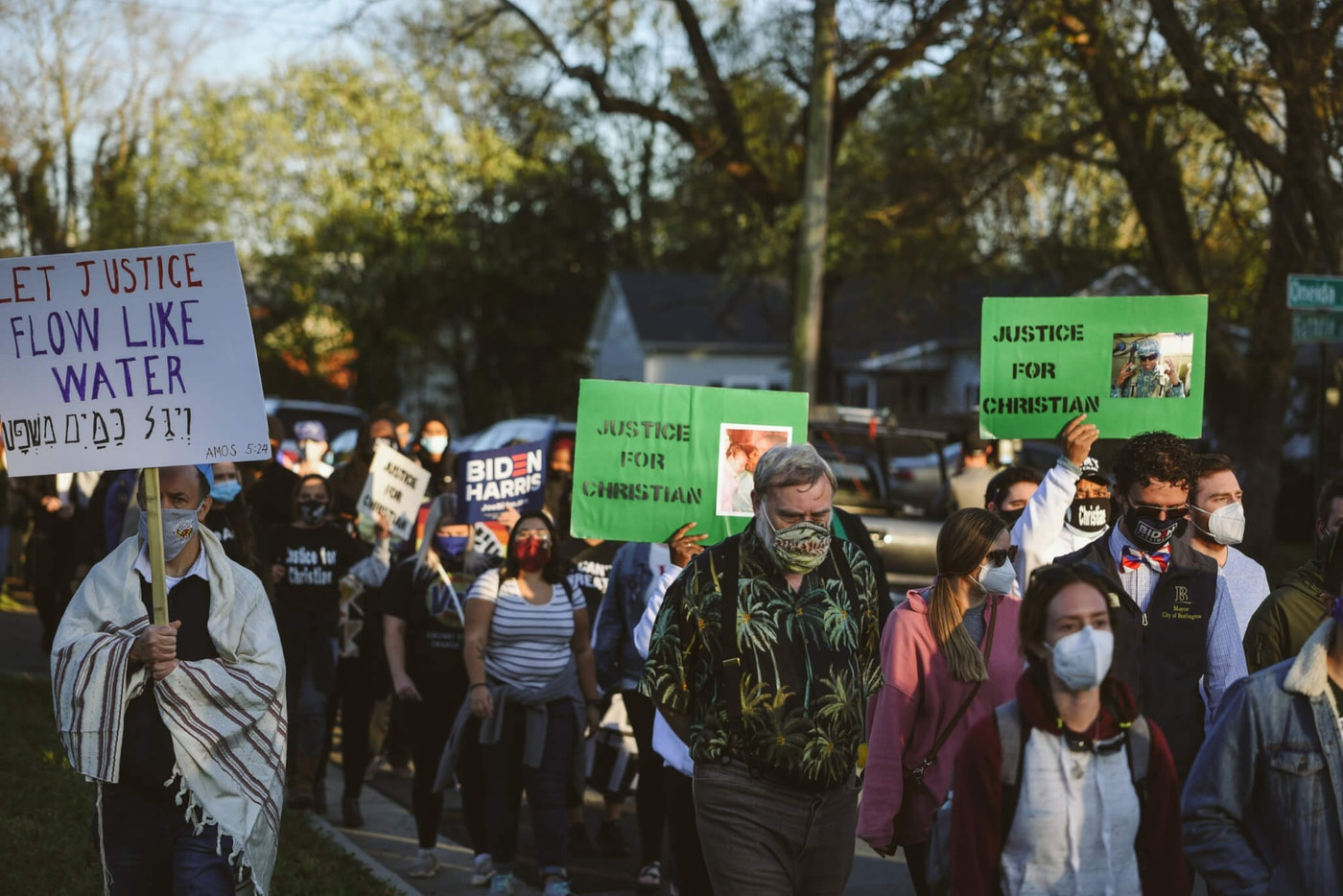 Hundreds of marchers in Graham, N.C. walked to the polls on Election Day and to protest police brutality (Photo by Alvin Jacobs Jr. for Cardinal & Pine.)