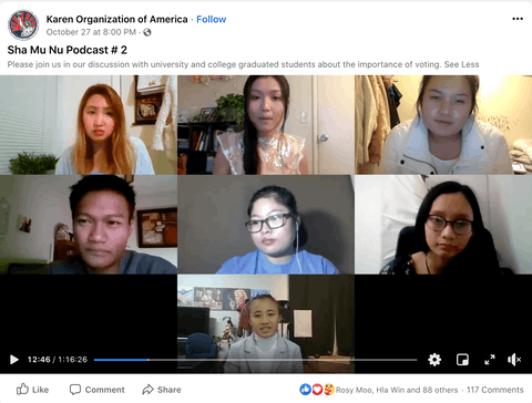 Karen (Burmese) youth people people created an online forum to talk about how and why to vote in 2020. (Screenshot via Facebook.)