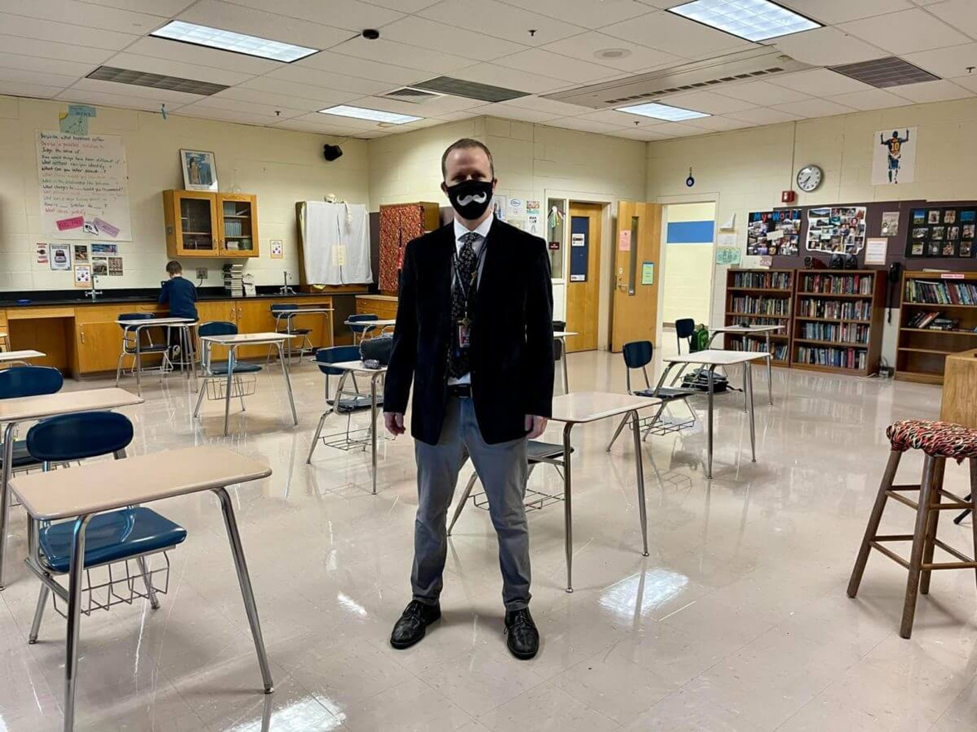 Like many educators in NC's largest city, Charlotte teacher Justin Parmenter returned to the classroom Monday in the midst of a resurgence in the state's COVID cases. (Image via Justin Parmenter)