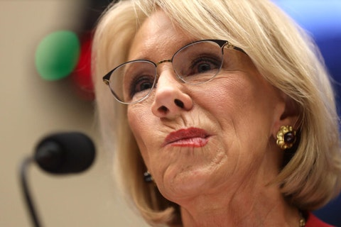 Education Secretary Betsy DeVos calls student debt cancellation and tuition-free college 'wrong.'