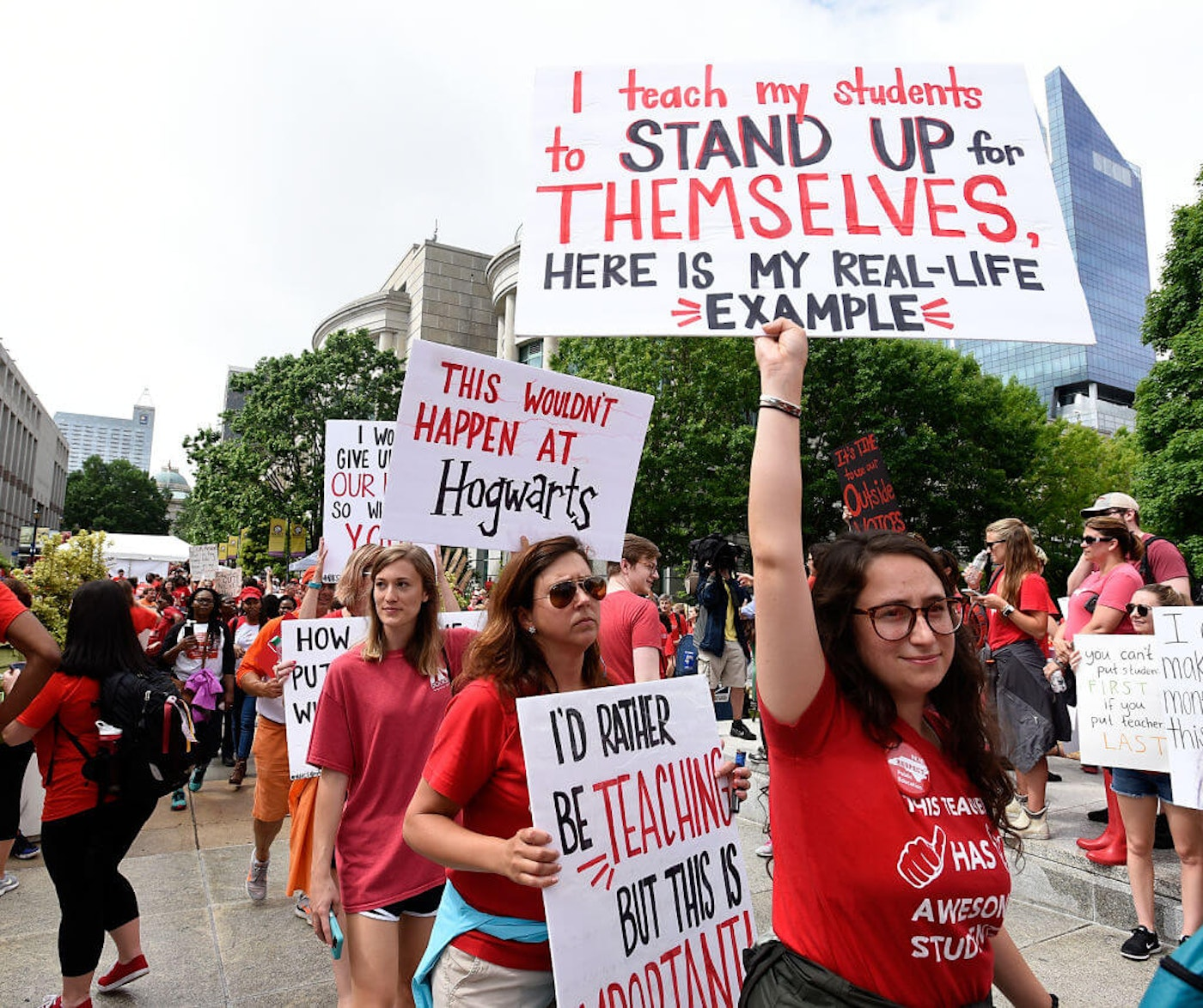 Crowds fill Bicentennial Plaza outside of the North Carolina Legislative Building during the March for Students and Rally for Respect on May 16, 2018 in Raleigh, North Carolina. (Photo by Sara D. Davis/Getty Images)