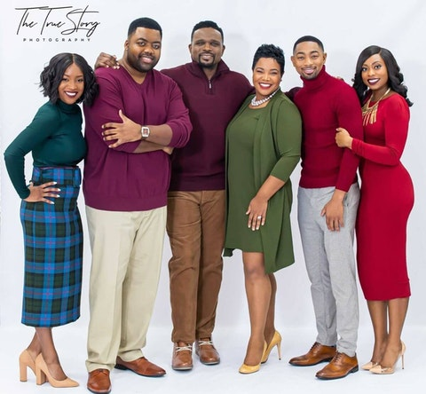 From left to right, the 'Christmas in Carolina' cast: Jessi Niccolet, Terrence Shingler, Darius McCrary, Kellie Shanygne Williams, David L. Rowell, and Joslyn Y. Hall of Charlotte. (Image via The True Story Photography)