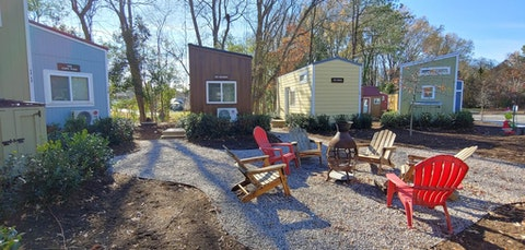 The pandemic has made hotels a riskier proposition. This tiny home 'hotel' in eastern NC aims to offer an alternative. (Image via Sue Wasserman)