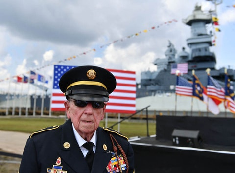 A US World War II veteran arrives for President Trump's speech at the U.S.S. Battleship North Carolina in Wilmington in September. Seventy-five years after the war, some say there are similarities between the fabled 'Greatest Children' and those kids growing up amid a worldwide pandemic and recession today. (Photo by Peter Zay/Anadolu Agency via Getty Images)