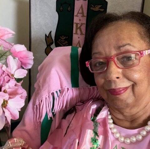 Caroline Lattimore, a Durham member of the historically Black Alpha Kappa Alpha sorority, joined many of her sisters celebrating Vice President Kamala Harris' inauguration Wednesday. (Image via Lattimore)