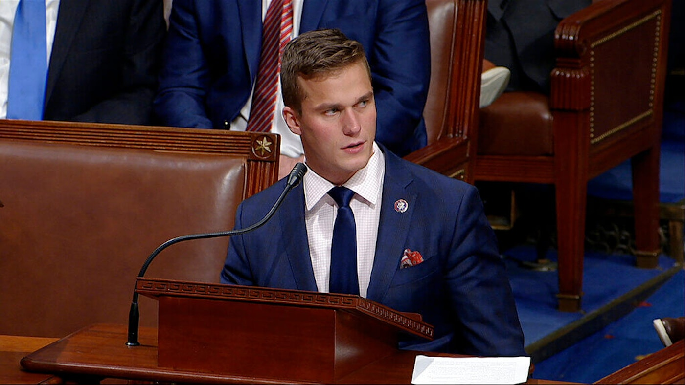 Rep. Madison Cawthorn, R-N.C., speaks as the House debates the objection to confirm the Electoral College vote from Pennsylvania in January. (Image via House Television/AP)