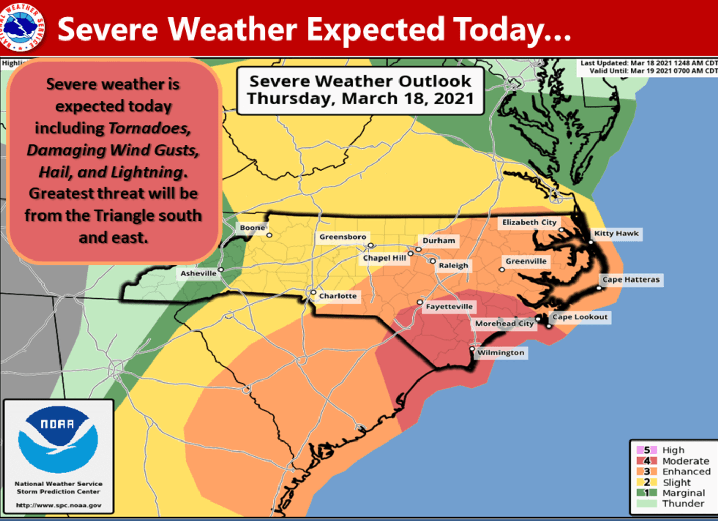 The National Weather Service indicated the risk for tornadoes was highest southeast of the Triangle. (Image via NWS)