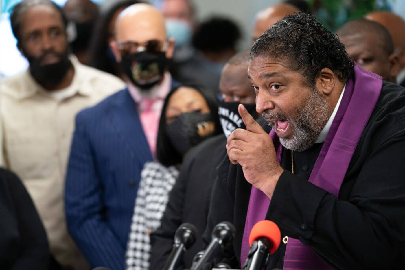 ELIZABETH CITY, NC - APRIL 24: William J. Barber II speaks during a press conference concerning the shooting death of Andrew Brown Jr. at Mount Lebanon A.M.E. Zion Church in Elizabeth City, North Carolina on April 24, 2021. Brown was shot by officers from the Pasquotank County Sheriffs Office on April 21. (Photo by Sean Rayford/Getty Images)
