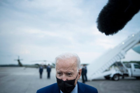 US President Joe Biden speaks to the press before boarding Air Force One at Dobbins Air Reserve Base April 29, 2021, in Marietta, Georgia. Friday, April 30 marked 100 days in office for Biden. (Photo by Brendan Smialowski / AFP) (Photo by BRENDAN SMIALOWSKI/AFP via Getty Images)