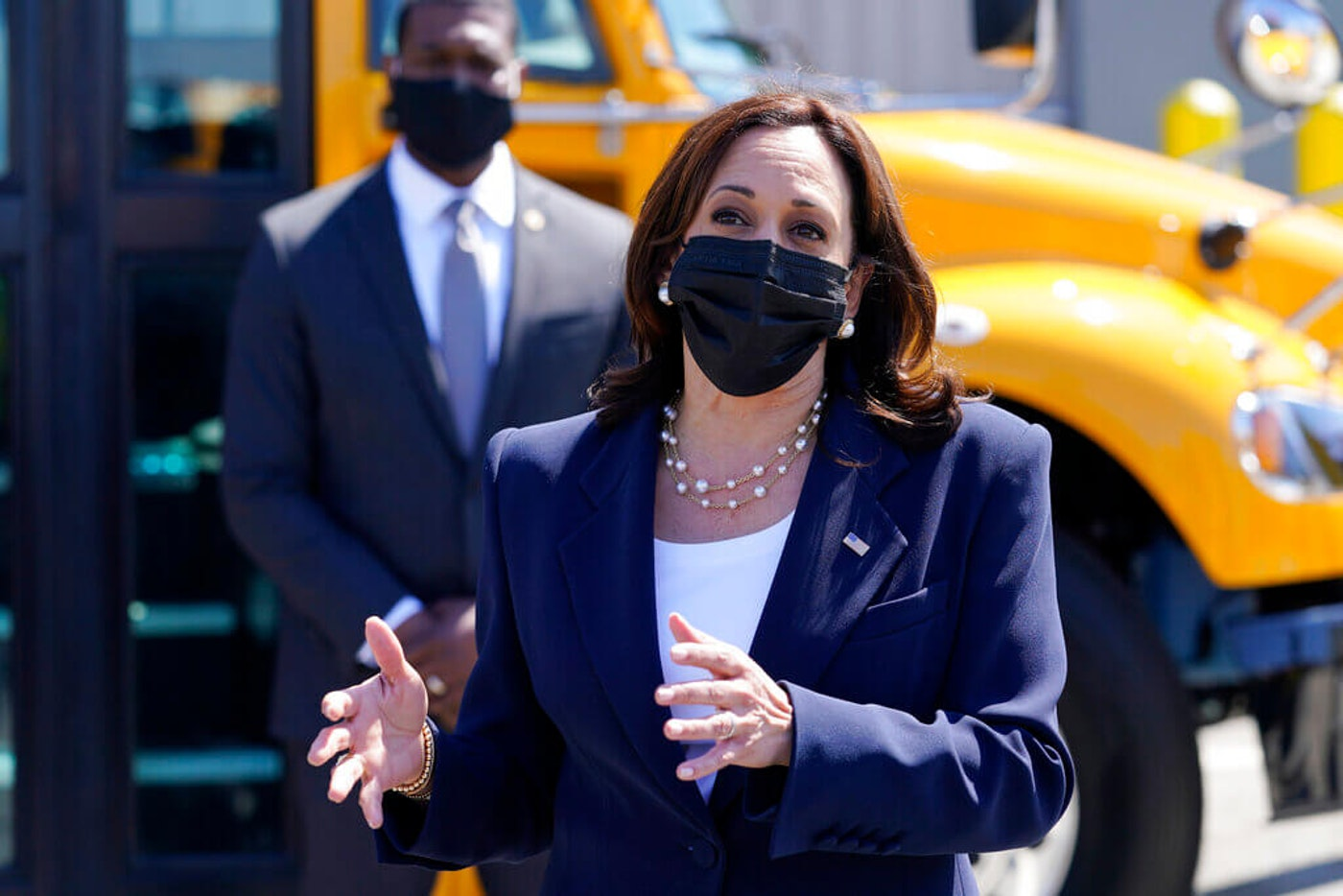 Vice President Kamala Harris talks to media at the conclusion of a tour at Thomas Built Buses Monday in High Point, N.C. (AP Photo/Carolyn Kaster)