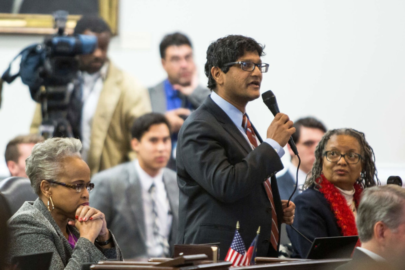 In this Dec. 21, 2016 file photo, State Sen. Jay Chaudhuri, D-Wake, speaks on the NC Senate floor. Chaudhuri is one of several Democrats who sponsored COVID relief bills this week tailored to lower-income and middle-class North Carolina families.  (AP Photo/Ben McKeown, File)