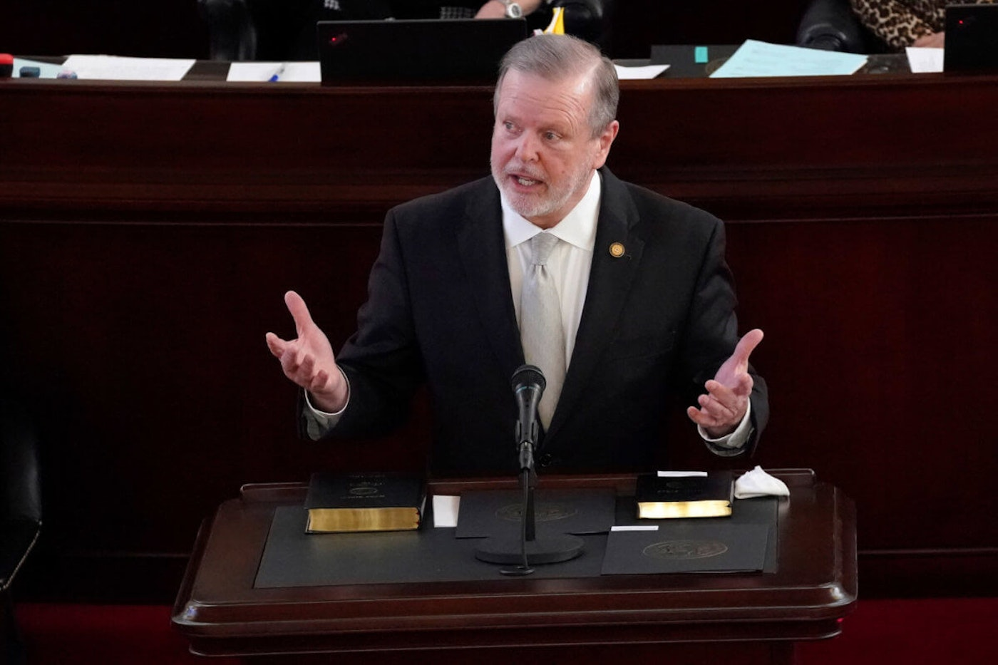 Senate President Pro Tempore Phil Berger, R-Rockingham, in January 2021. Berger's office has long opposed Medicaid expansion in North Carolina. (AP Photo/Gerry Broome)