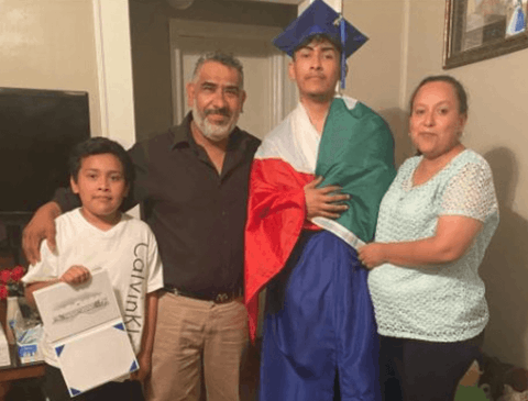 Ever Lopez with his family after he was denied his diploma at Asheboro High School this past weekend. (Image via the Lopez family)