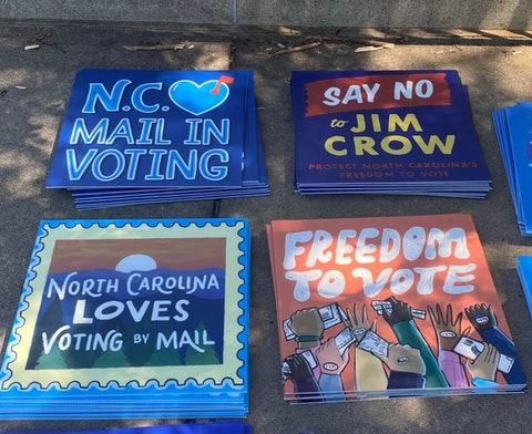 """Voting rights groups in North Carolina denounced new voting law bills authored by the state's Republicans as """"Jim Crow 2.0"""" on Monday in Raleigh. (Photo by Michael McElroy)"""