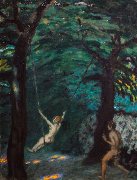 An early 20th century painting by Franz von Stuck, called A Swing in the Woods, depicts a red-haired woman, naked with buttocks exposed, enjoying a sling hung between two trees in a wooded, secluded area. To her right is a male figure, also nude, with arms raised in a pushing motion.