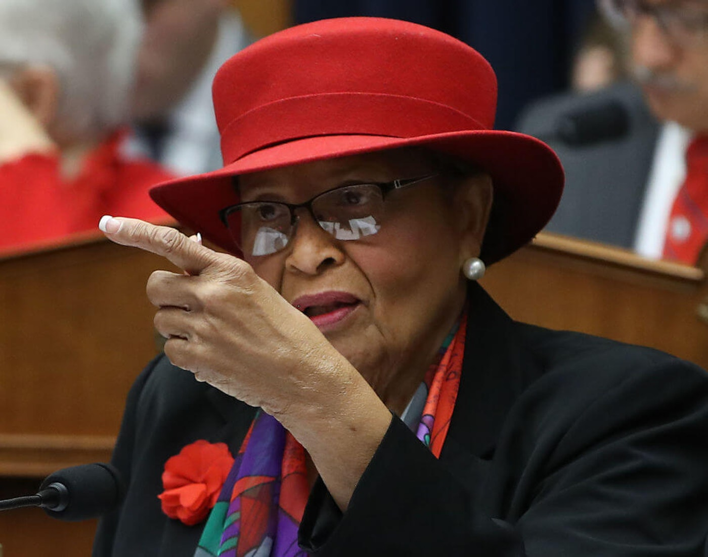 Rep. Alma Adams (D-NC) speaks during a House committee in 2019. With many families in her district possibly facing eviction in a matter of days, Adams has been calling on state leaders in North Carolina to extend the housing moratorium a month or more. (Photo by Mark Wilson/Getty Images)