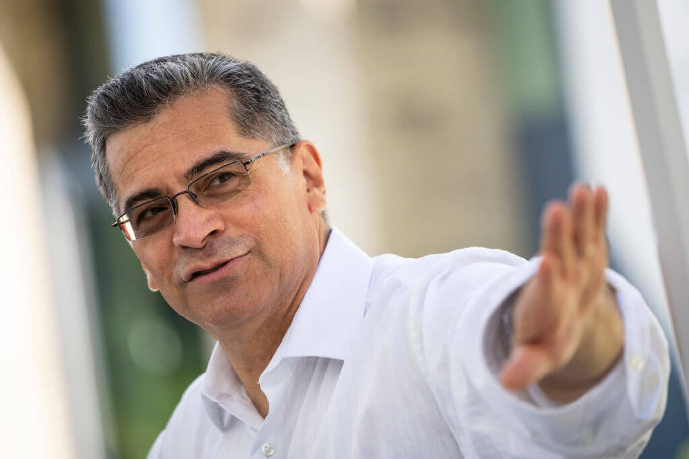 Health and Human Services Secretary Xavier Becerra in Washington, D.C., in June. Becerra met w/ longtime US Rep. Alma Adams this week in Charlotte to talk health care post-pandemic.  (Photo by Drew Angerer/Getty Images)