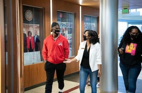 NBA star Chris Paul (left) led a voting drive last October with Je'Den Clark, a WSSU graduate and Student Government Association president.  (Image via Je'Den Clark)