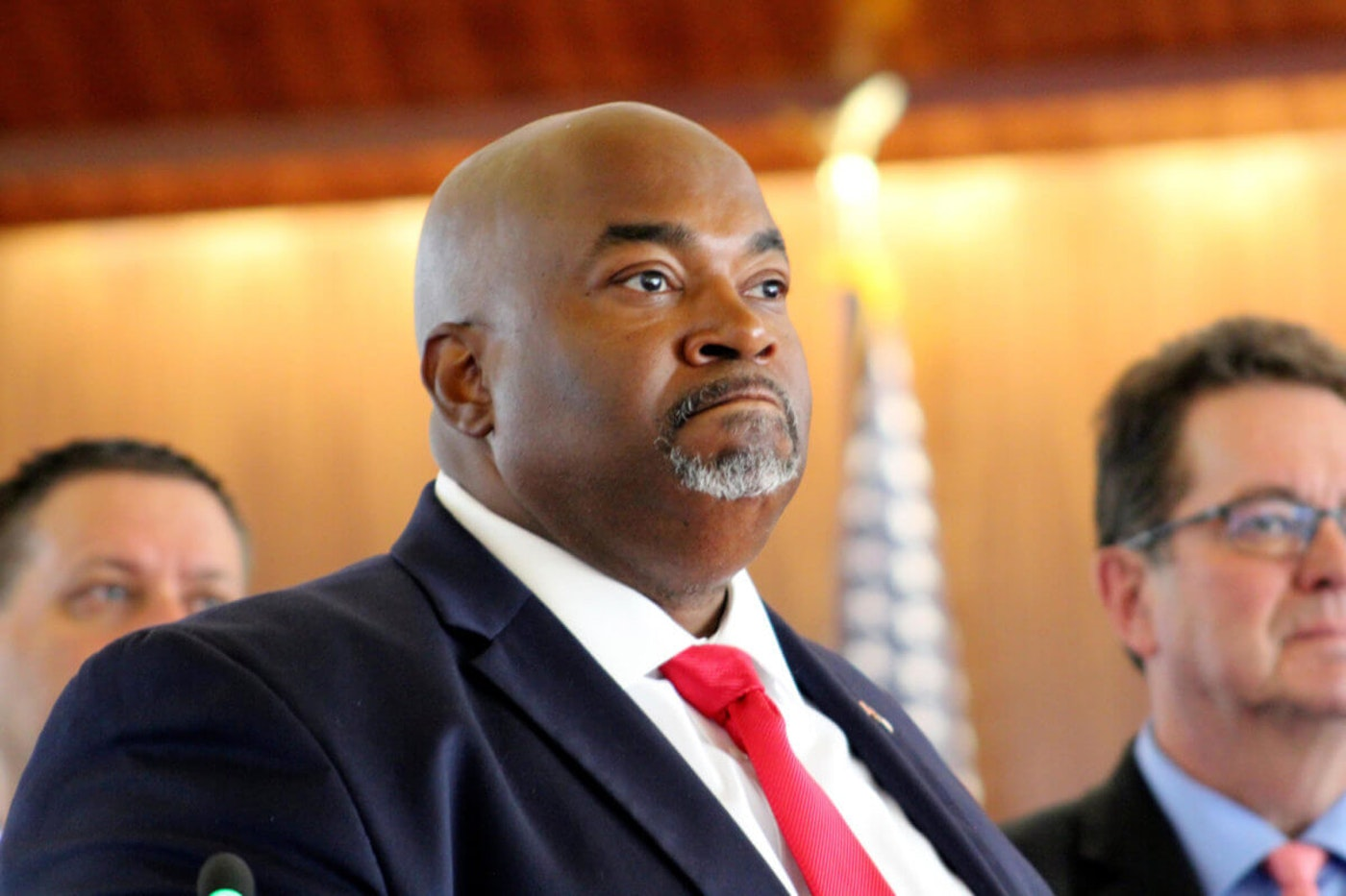 """North Carolina Republican Lt. Gov. Mark Robinson speaks Tuesday, Aug. 24, 2021, in Raleigh, N.C. Robinson is facing calls to resign from elected officials and LGBTQ advocacy groups over comments he made in June in which he criticized teachings in K-12 public schools and likened peoples' sexual orientation to """"filth."""" (AP Photo/Bryan Anderson, file)"""