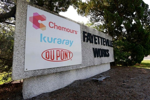 This 2018 photo  shows the signage of the Fayetteville Works plant where the Delaware-based Chemours Company manufactures C3 dimer acid, also known as GenX. The chemical has entered the Cape Fear River, a source of drinking water for much of the southeastern part of North Carolina for an unknown time period. (Photo via AP Photo/Gerry Broome)