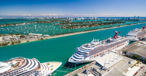 Cruise ship docking in Miami port