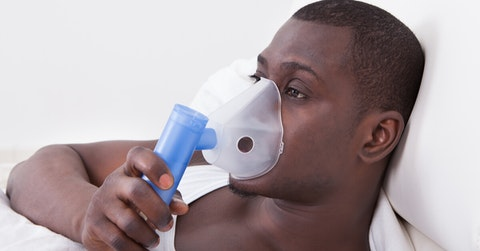 Black men with inhaler