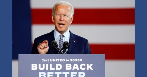 Democratic presidential candidate former Vice President Joe Biden speaks at McGregor Industries in Dunmore, Pa., Thursday, July 9, 2020. (AP Photo/Matt Slocum)