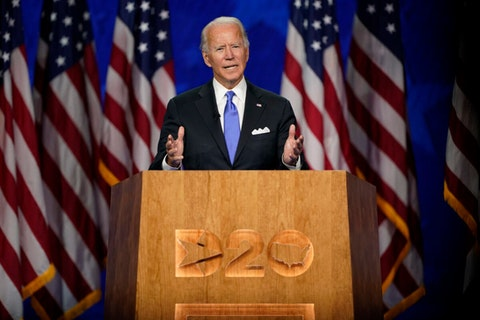 Condemning Trump for the pandemic's catastrophic toll and for stoking white supremacist violence, the Democratic presidential nominee made the case for hope under a Biden administration.