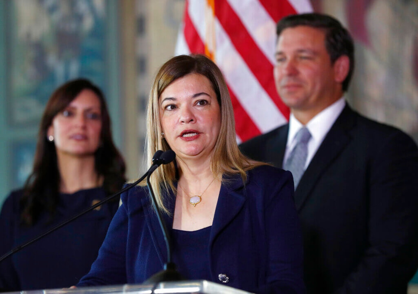 Judge Barbara Lagoa with Gov. Ron DeSantis after he picked her for for the Florida Supreme Court in 2019. Lagoa is considered one of Trump's top picks for the Supreme Court. (AP Photo/Wilfredo Lee)