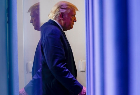 President Donald Trump leaves a news conference in the James Brady Press Briefing Room at the White House, Friday, Sept. 4, 2020, in Washington. (AP Photo/Evan Vucci)