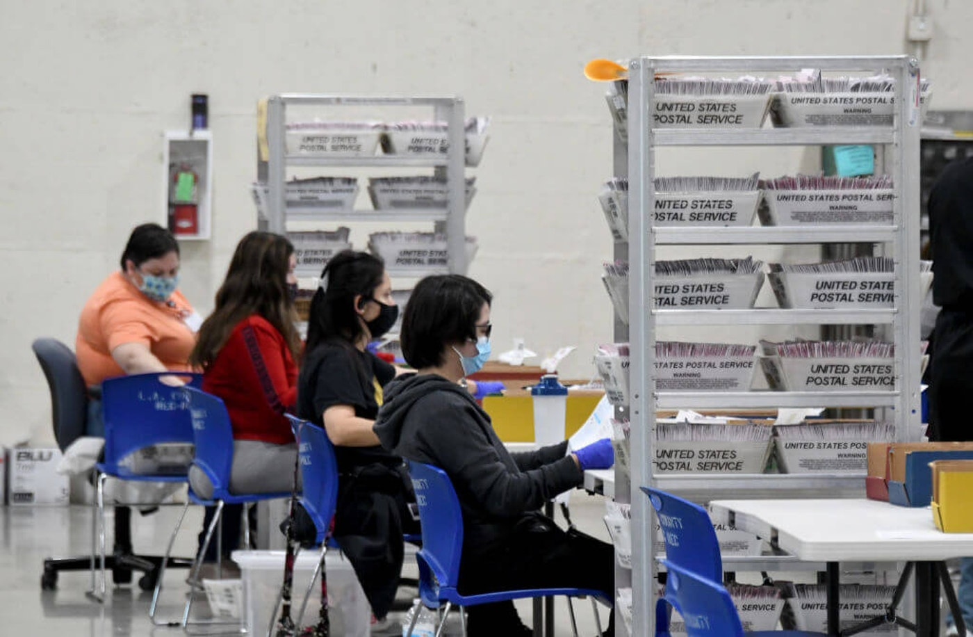 At the ballot processing center at the LA County Registrar temporary building at the Fairplex in Pomona on Friday, October 23, 2020. (Photo by Keith Birmingham/MediaNews Group/Pasadena Star-News via Getty Images)