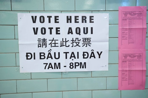 A voting sign on a wall in English, Spanish, and other languages.