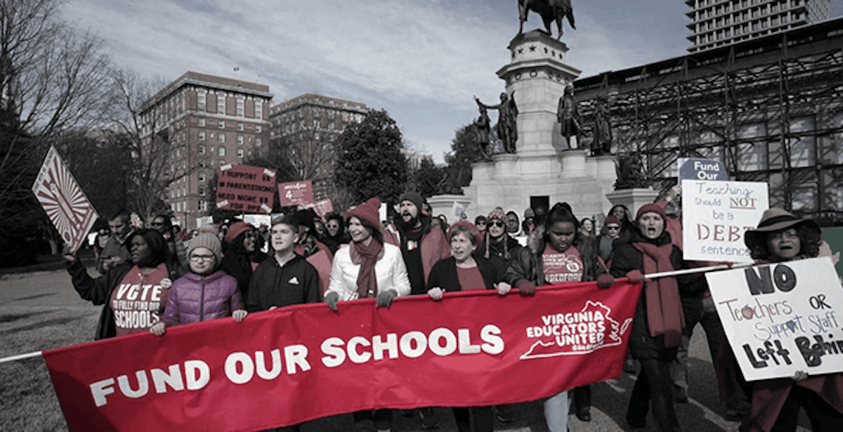 Teachers protesting for more pay in Virginia (eduation)