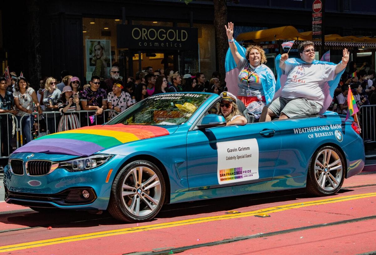 LGBTQ Activist Gavin Grimm pictured at a pride parade