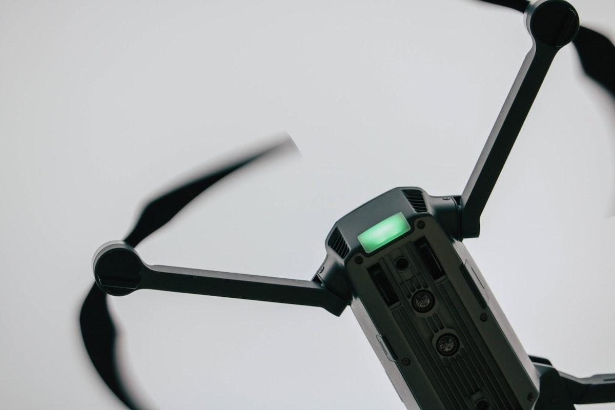 Photo of a black drone quadcopter